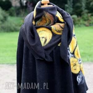 wyjątkowe poncho płaszcz czarne damskie filcowane