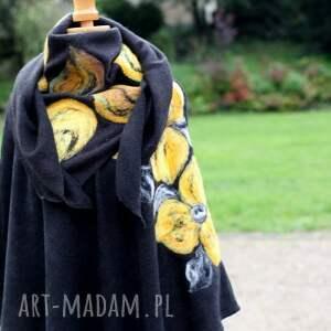 płaszcz poncho czarne damskie filcowane