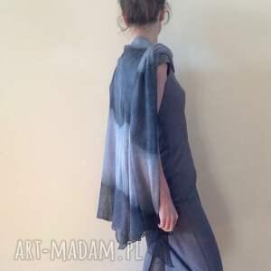 poncho eleganckie cieniowane lniane ponczo