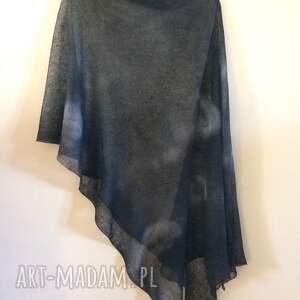 bluzka poncho eleganckie grafitowe lniane ręcznie