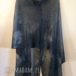 poncho bluzka eleganckie grafitowe lniane ręcznie