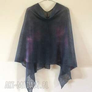 intrygujące poncho bluzka eleganckie lniane ponczo grafitowe