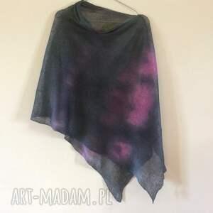 poncho bluzka eleganckie lniane ponczo grafitowe