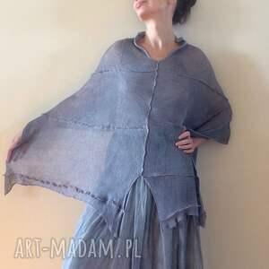 Anna Damzyn poncho: Eleganckie szare lniane ponczo prezent