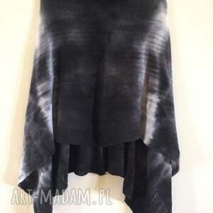 oryginalne poncho sweter grafitowe cieniowane wełniane