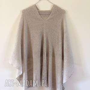 poncho sweter klasyczne naturalne lniane ponczo