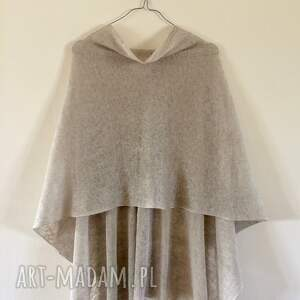 sweter poncho klasyczne naturalne lniane ponczo