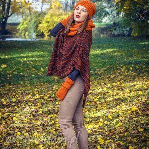 kolorowe poncho pomarańczowe ponczo