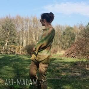 brązowe poncho ponczo lniane w kolorach natury