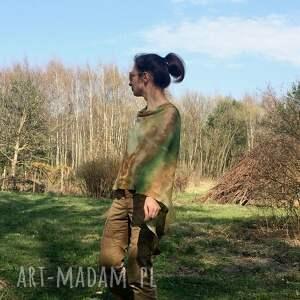 narzutka poncho zielone lniane ponczo w kolorach natury