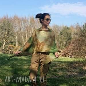 poncho: Lniane ponczo w kolorach natury - HandMade prezent