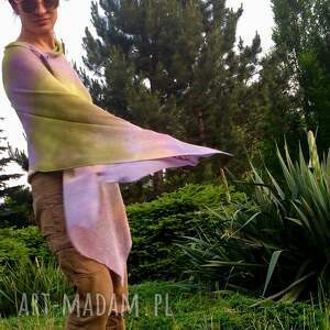hand made poncho narzutka lniana lila&oliwka
