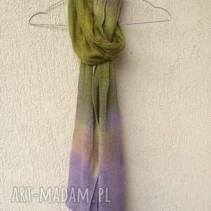 narzutka poncho fioletowe lniana lila&oliwka