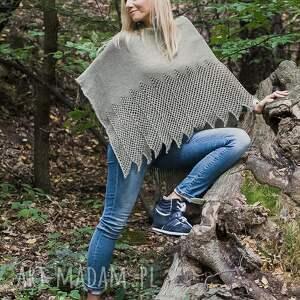 poncho sweter oliwkowe ponczo