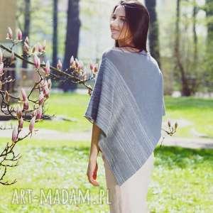 handmade poncho ponczo szare - melanż