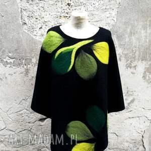 czarne poncho ponczo zielenie
