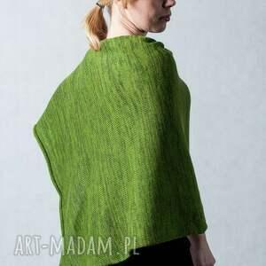 poncho wełna ponczo zielone - melanż