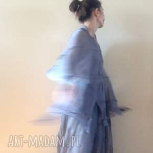 Anna Damzyn poncho lniane eleganckie szare ponczo