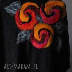 handmade poncho wełna tunika i kwiat magicznego