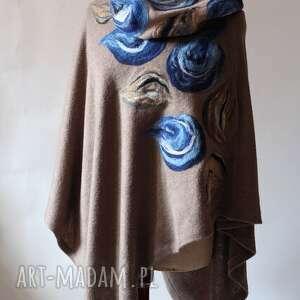 unikalne poncho wełna tunika i kwiat magicznego