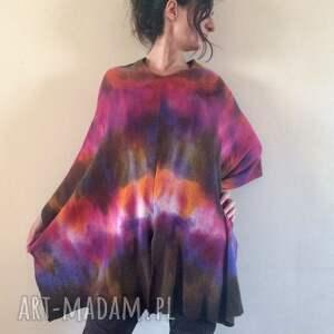 kolorowe poncho wełniane unikatowe ręcznie barwione