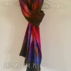 Unikatowe ręcznie barwione kolorowe wełniane ponczo - handmade dzianina