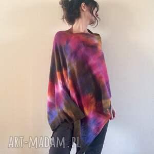 ponczo poncho unikatowe ręcznie barwione kolorowe