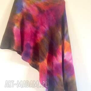Anna Damzyn poncho ponczo unikatowe ręcznie barwione kolorowe