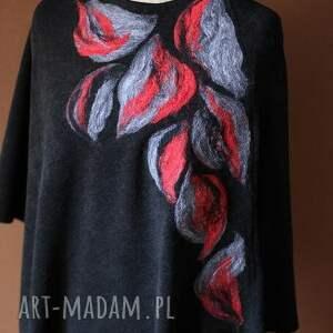 handmade poncho sweter wełniane jesienne