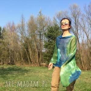 kolorowe narzutka zielono niebieskie lniane ponczo