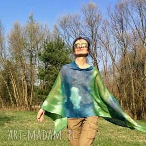 poncho ponczo zielono niebieskie lniane
