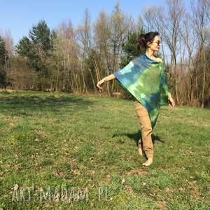 Anna Damzyn poncho: Zielono niebieskie lniane ponczo prezent