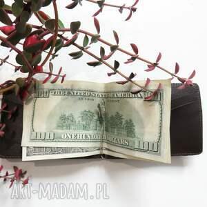 prezent portfele banknotówka skórzana z klipsem