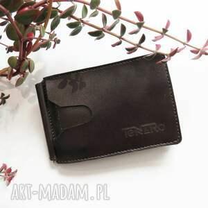 portfele prezent banknotówka skórzana z klipsem