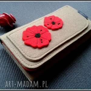 nietuzinkowe portfele portfel bezowy z makami