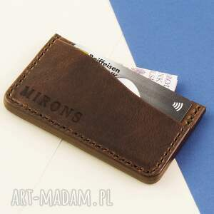 męski portfele card holder brązowy