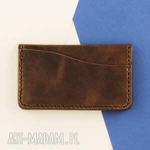 portfele męski card holder brązowy
