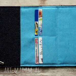 fioletowe portfele haft duży filcowy portfel