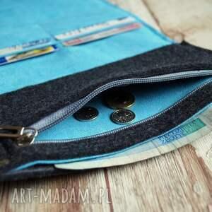 portfel portfele niebieskie duży filcowy