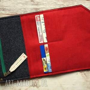 czerwone portfele portfel duży filcowy - truskaweczki