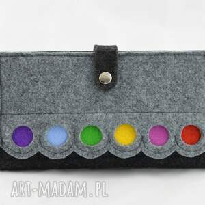 szare portfele portmonetka duży portfel z kropkami - maxi