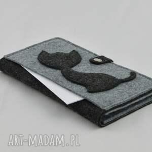 szare portfele portfel duży z kotem -maxi