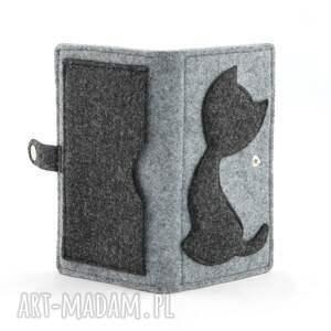 szare portfele filc filcowy portfel z kotkiem - midi