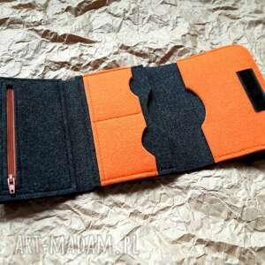 pomarańczowe portfele filcu filcowy portfel z owieczka 002