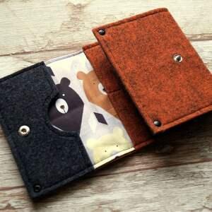 beżowe portfele portmonetka filcowy portfelik z liskiem