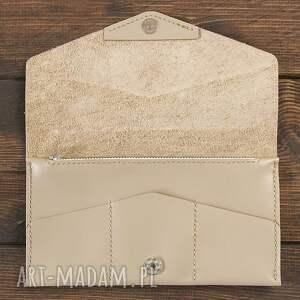 ręczne wykonanie portfele portfel kopertówka kremowa