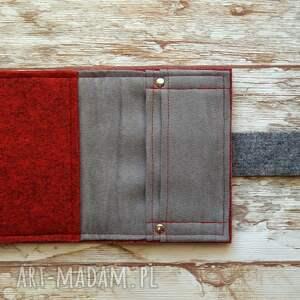 szare portfele mały filcowy portfel