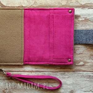 różowe portfele portfel mały filcowy