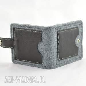 szare portfele skóra minimalistyczny portfel - mini