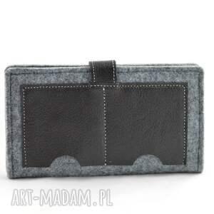 szare portfele portfel minimalistyczny - filc